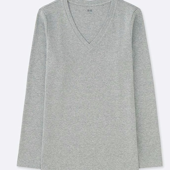 3ad6d3cf716ecd Uniqlo Compact Cotton V Neck Long Sleeve Shirt. M_5bf18281819e909eced101b0